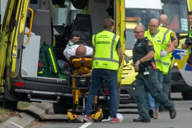 An injured person is loaded into an ambulance following the mass shooting at the Al Noor mosque in Christchurch New Zealand on Friday