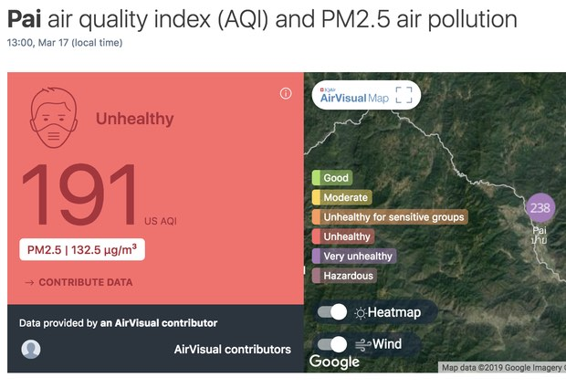 The Air Quality Index hit a 'very unhealthy' 238 in Pai, Mae Hong Son at 1pm on Sunday.  (Screenshot from airvisual.com)