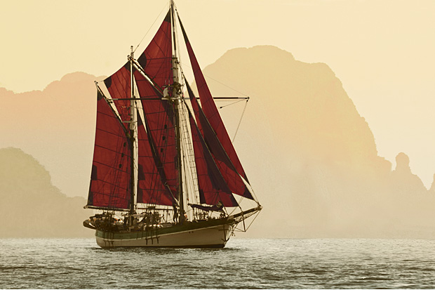 The Vega, built in 1892 in Norway, is seen off Phangnga, Thailand. (Photos courtesy of Sailvega.com)