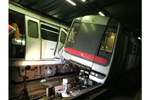 Hong Kong subway trains collide during signalling test