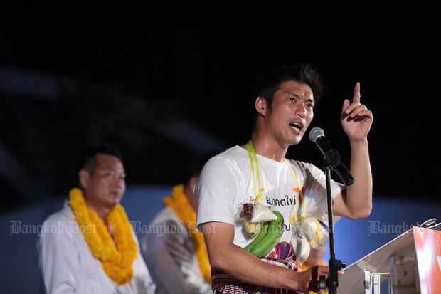 Thanathorn Juangroongruangkit speaks on the campaign trail in the Northeast last week. (Photo from Facebook/Thanathorn Juangroongruangkit)