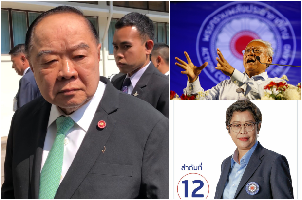 Deputy Prime Minister Prawit Wongsuwon (left) rules out the possibility of a post-election military coup and unrest after comments by two key members of the Action Coalition for Thailand Party (top right) and Benya Nandakwang (bottom right). (Photos by Wassana Nanuam, Pattarapong Chatpattarasill and Benya Nandakwang Facebook)