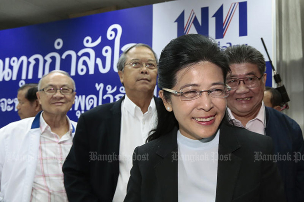 Khunying Suradat Keyuraphan of Pheu Thai is all smiles after a press conference at the party's head office on Monday. (Photo by Patipat Janthong)