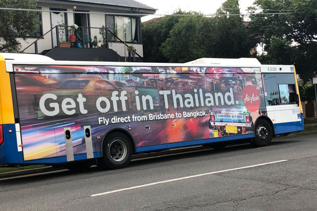 The AirAsia advertisement, seen on a Brisbane bus, with the message
