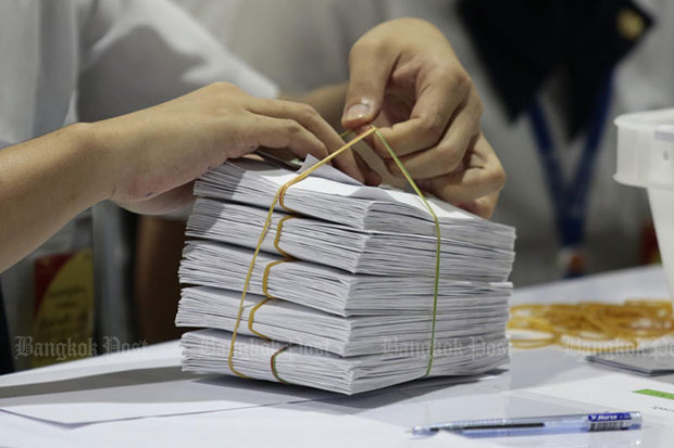 More than 3,000 Thailand Post employees helped sort the ballots cast during the general election on Sunday. (File photo)