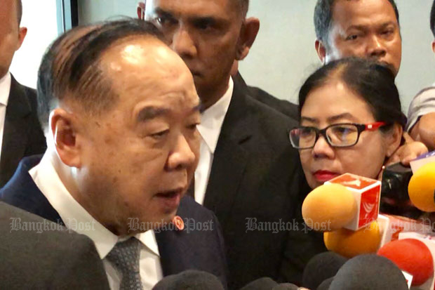 Deputy Prime Minister Prawit Wongsuwon tells reporters at Government House in Bangkok on Wednesday that the next government will take shape in May, after the coronation ceremonies, and not before. (Photo by Wassana Nanuam)