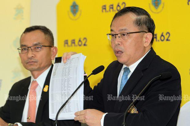 Krit Urwongse, deputy secretary-general of the Election Commission, shows the raw data of the March 24 election released on Thursday. (Photo by Tawatchai Kemgumnerd)