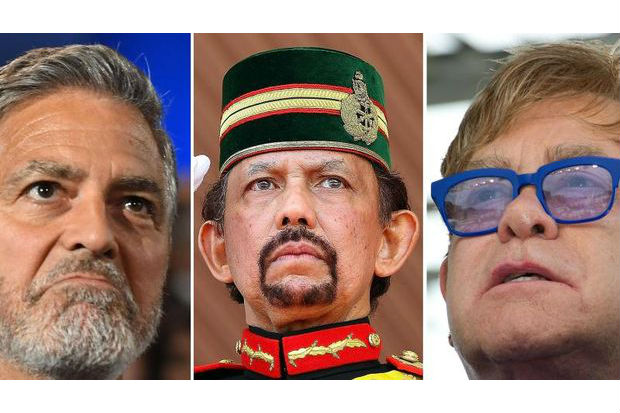 A combination of pictures created in London on March 31, 2019 shows US actor and filmmaker George Clooney (left) gesturing at the Dolby Theatre in Hollywood on June 7, 2018, Sultan of Brunei Hassanal Bolkiah (centre) saluting during a ceremonial guard of honour to mark his 68th birthday in Bandar Seri Begawan on Aug 14, 2014 and British singer-songwriter Elton John (right) attending the 19th International AIDS Conference in Washington, DC on July 23, 2012.  (AFP)