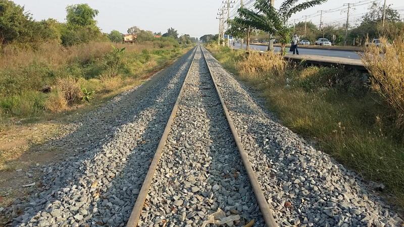 The Thai train line from Aranyaprathet station in Sa Kaeo to the Thai-Cambodian border. (Photo by Sawat Ketngam)