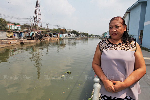 Moving forward: Darapim Sukkasem, 48, a resident of Sai Mai district, says her quality of life is better now that she has moved from a house built on stilts by the Khlong Lat Phrao canal to nearby state housing.