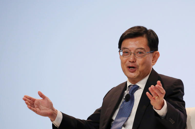 Singapore Finance Minister Heng Swee Keat speaks at a UBS client conference in Singapore on  Jan 14, 2019. He also attended the meeting of Asean finance ministers in Chiang Rai. (Reuters photo)