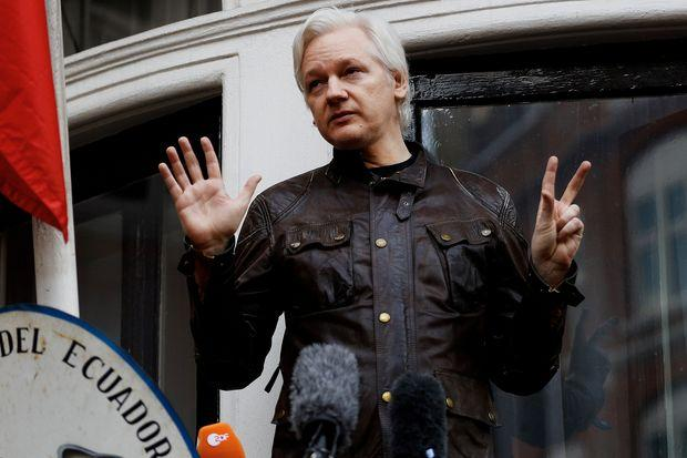 In this file photo taken on May 19, 2017 Wikileaks founder Julian Assange speaks from a balcony at the Embassy of Ecuador in London. (Reuters photo)