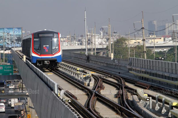 The Green Line's extended section to Samut Prakan (photo by Apichart Jinakul)