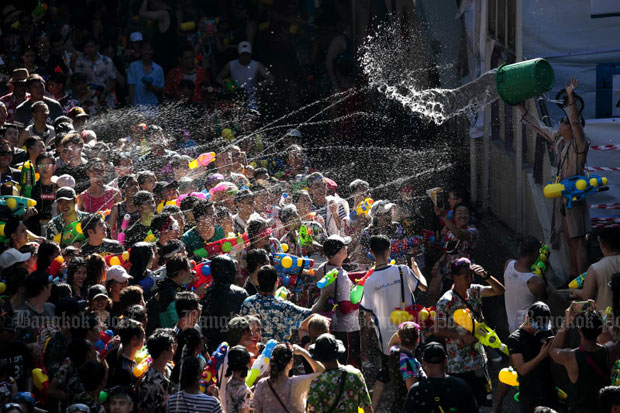 Songkran celebration on Silom Road, Bangkok, in April 2018 (Photo by Patipat Janthong)