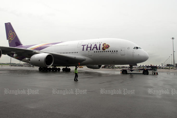 An A380 of Thai Airways International at Suvarnabhumi airport. An aircraft of the same type was slightly damaged on the ground in Paris on Wednesday. (Bangkok Post file photo)