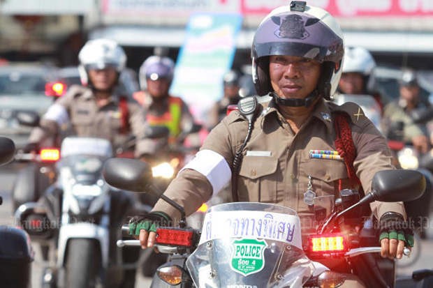 Police set out on a road safety inspection during the Songkran-holiday road safety campaign, which ran from April 11 to Wednesday night. (Photo by Somchai Poomlard)