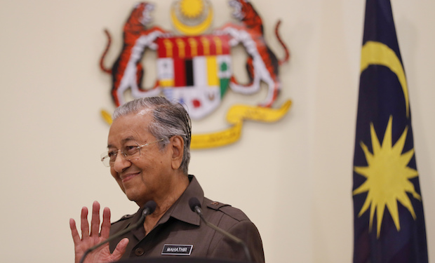 Prime Minister Mahathir Mohamad gestures during a news conference in Putrajaya earlier this week. (AP Photo)