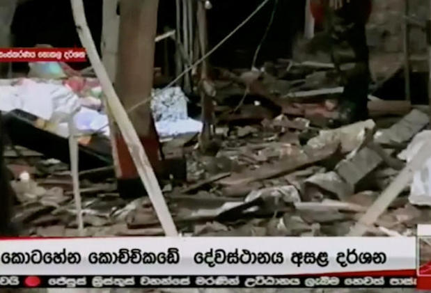 Debris is seen at St Anthony's church after explosions hit churches and hotels in Colombo, Sri Lanka, on Sunday, in this still image obtained from video. (Derana TV/via Reuters TV)