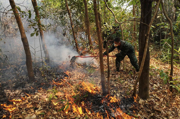 File photo: A soldier tries to hose down one of many hotspots in the forest in Muang district of Chiang Rai early this month. (Photo by Chinapat Chaimon)