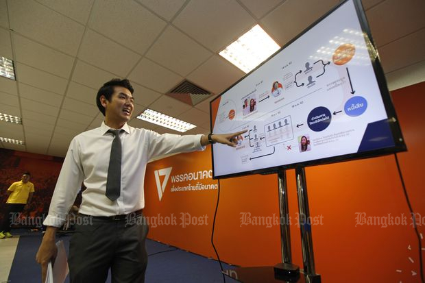 Piyabutr Saengkanokkul, secretary-general of the Future Forward Party, explains the sale of V-Luck Media Co Ltd shares on behalf of party leader Thanathorn Juangroongruangkit during a briefing on Monday. (Photo by Varuth Hirunyatheb)
