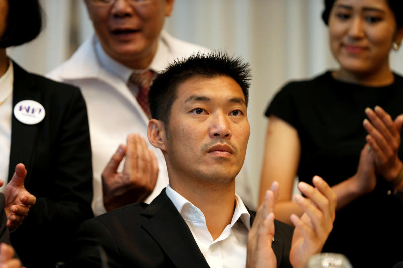 Future Forward Party leader Thanathorn Juangroongruangkit, leader of the attends a news conference to form a