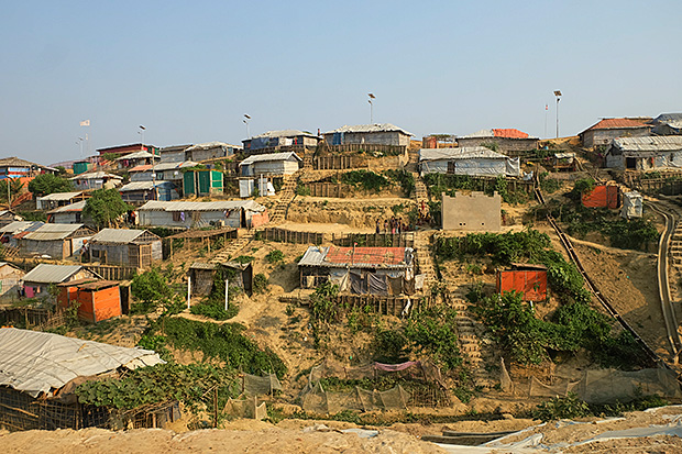 Space at a premium: Shelters at a refugee camp in Bangladesh's Cox's Bazar are crammed on slopes.