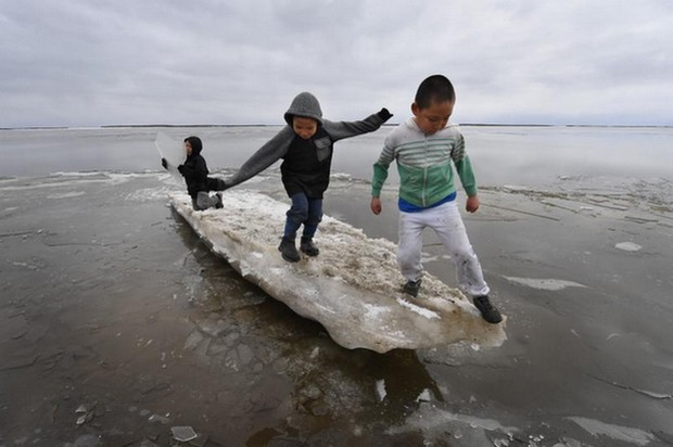 Schoolchildren play on melting ice at Yupik Eskimo village of Napakiak on the Yukon Delta in Alaska on April 19. Scientists say Alaska has been warming twice as fast as the global average, with temperatures in February and March shattering records. (Photo: AFP)