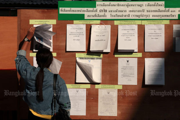 A woman checks the list of eligible voters at a polling station in Bang Kapi district, Bangkok, during an election rerun on April 21. (Photo by Chanat Katanyu)