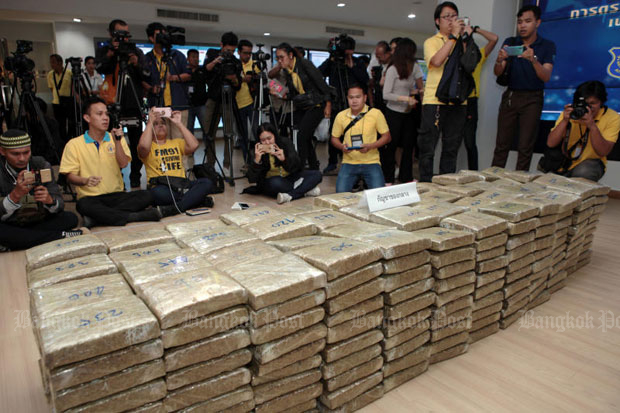 Piles of marijuana seized from drug gangs are displayed at the Office of the Narcotics Control Board, which plans to extract the marijuana for medical use if no toxic contaminants are found.Tawatchai Kemgumnerd