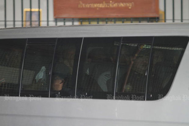 A Corrections van takes the yellow-shirt leaders from the Criminal Court to Bangkok Remand Prison after the Supreme Court jailed them for eight months on Feb 13. Five of them are expected to be released from jail on Saturday. (File photo by Apichart Jinakul)