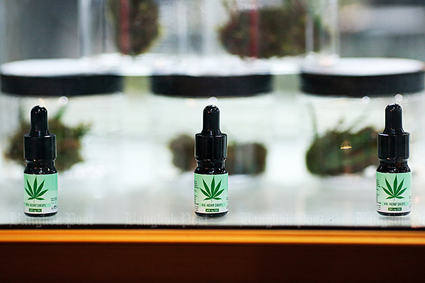 Cannabis oil for medical treatment is displayed at a herbal fair. (Photo by Patipat Janthong)
