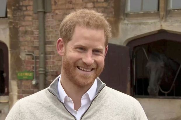 Britain's Prince Harry addresses the media after his wife Meghan, Duchess of Sussex, gave birth to their firstborn son, outside Windsor in London, on Monday in this still image taken from Reuters TV. (Reuters photo)