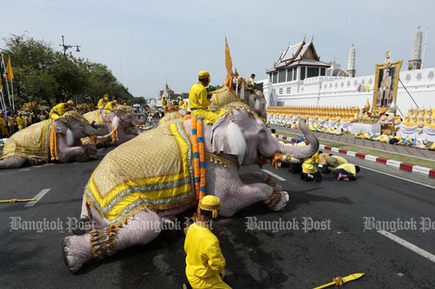 Beautiful elephants parade to honour King