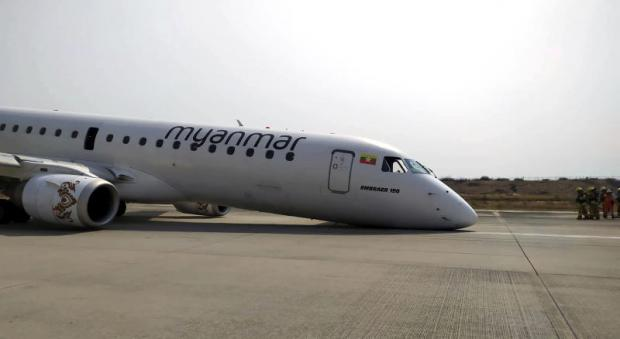 Myanmar plane carrying 89 passengers lands on its nose