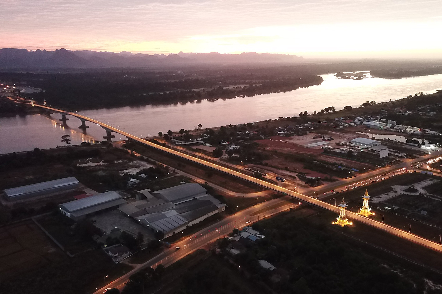 An aerial view of Nakhon Phanom, one of the secondary provinces under a Tourism Authority of Thailand plan to promote tourism. (Photo by Pattanapong Sripiachai)