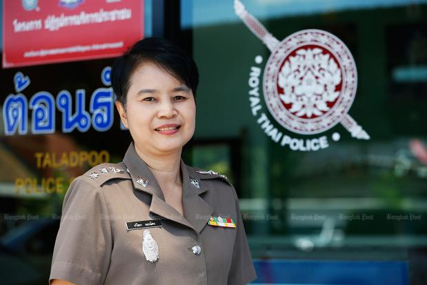 """""""Policemen are more reliable in jobs that need physical exertion. But women are more understanding of people's feelings, especially women and children."""" — Pol Col Pawina Ekchat, Acting Superintendent of Talat Phlu Police Station"""