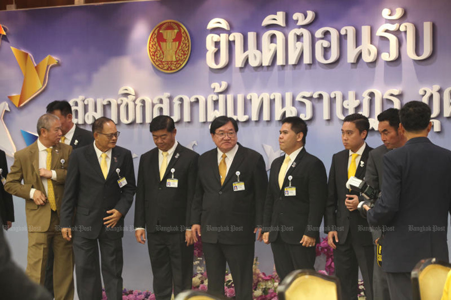Elected House members from the Chartthaipattana Party report themselves at the Bangkok Council on Tuesday. The parliament will have its first meeting on May 22. (Photo by Pawat Laopaisarntaksin)