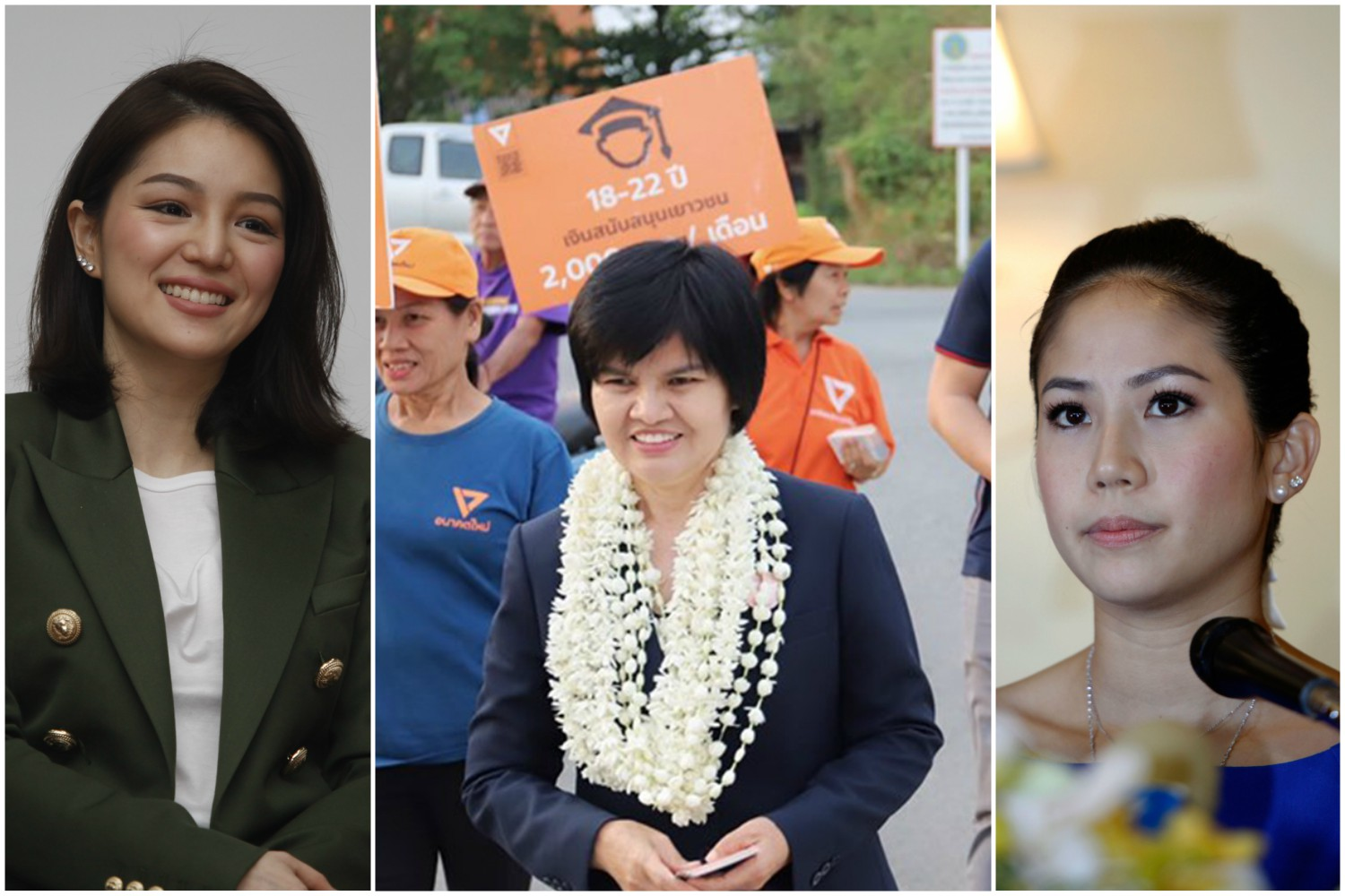 The three new MPs endorsed by the Election Commission on Tuesday: (from left) Watanya Wongopas, party-list MP of Palang Pracharath; Srinuan Boonlue, Chiang Mai MP, Future Forward; and Jitpas Kridakorn, party-list MP of Democrat.