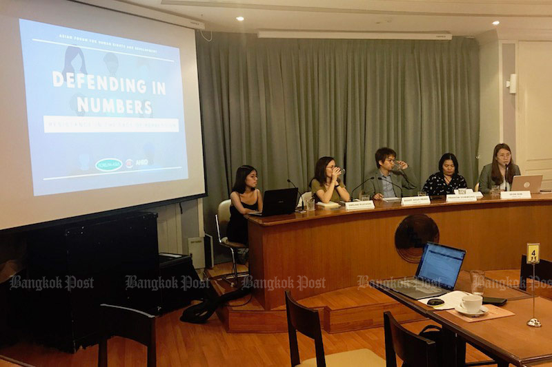 A panel discussed the release of Forum-Asia's new report, 'Defending in Numbers: Resistance in the Face of Repression', at the Foreign Correspondents Club of Thailand in Bangkok on Friday. (Photo by Dave Kendall)