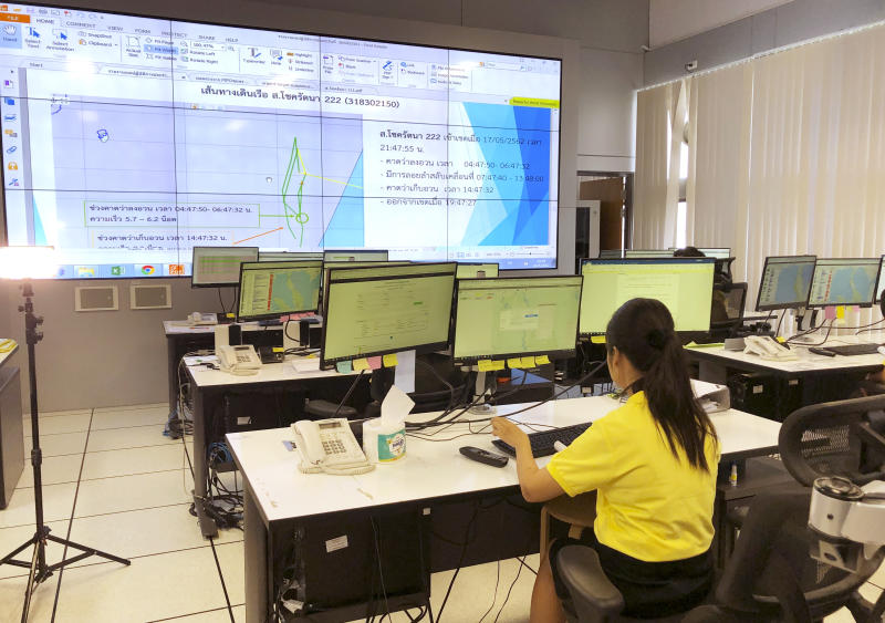 In this May 21, 2019, photo, staff monitor fishing vessels in real time at a state-of-the-art surveillance center in Bangkok, one of seven in the Asia-Pacific region. (AP)
