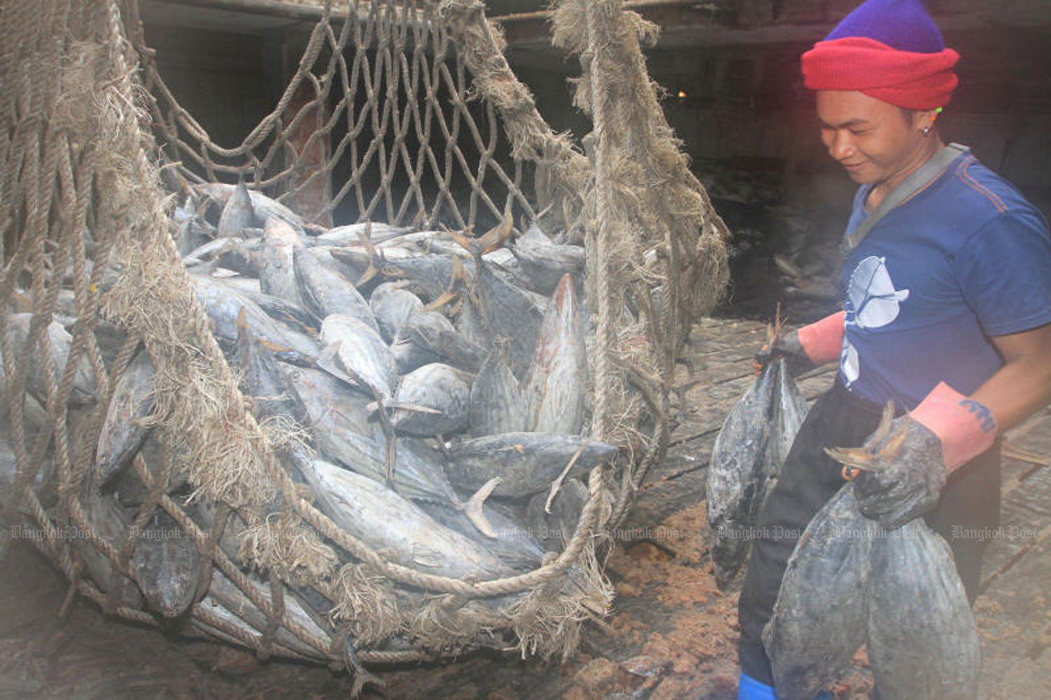 Frozen fish are unloaded from a vessel at a port in Samut Prakan. (File photo by Somchai Poomlard)