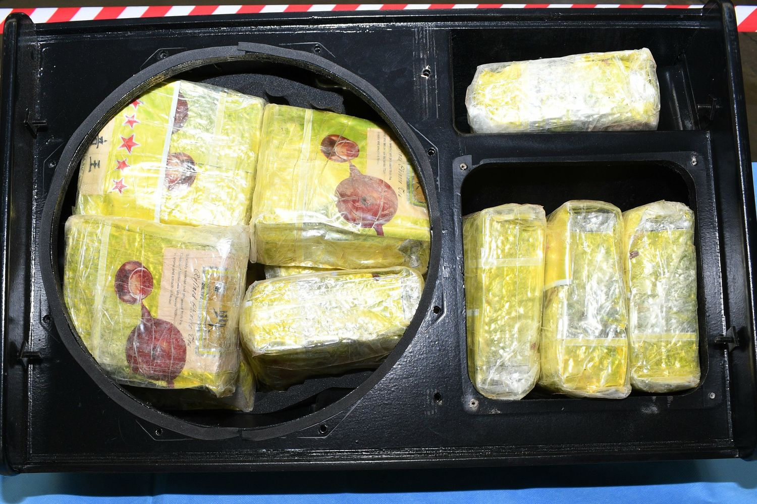 Some of the 1.8 tonnes of methamphetamine hidden in speakers shipped from Thailand is shown after it was seized by Australian Border Force on Friday. (Australian Federal Police via AP)