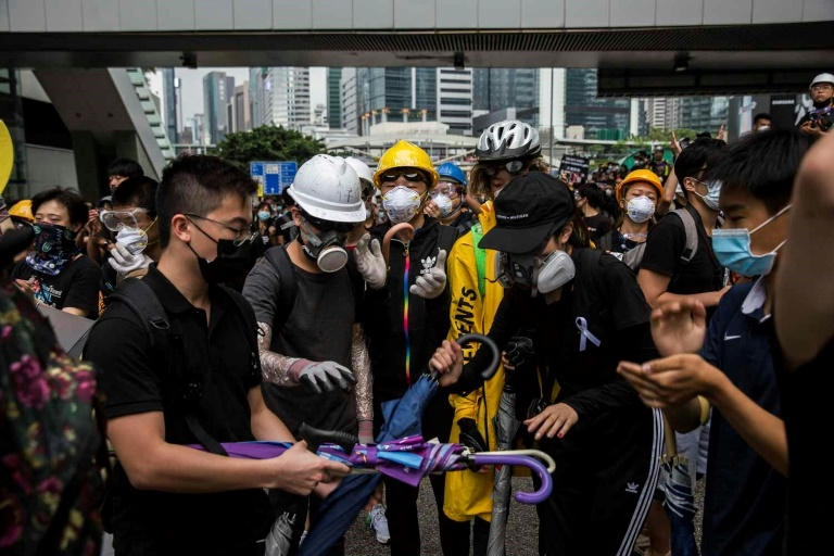Protesters remained in control of key roads in Hong Kong on Monday morning