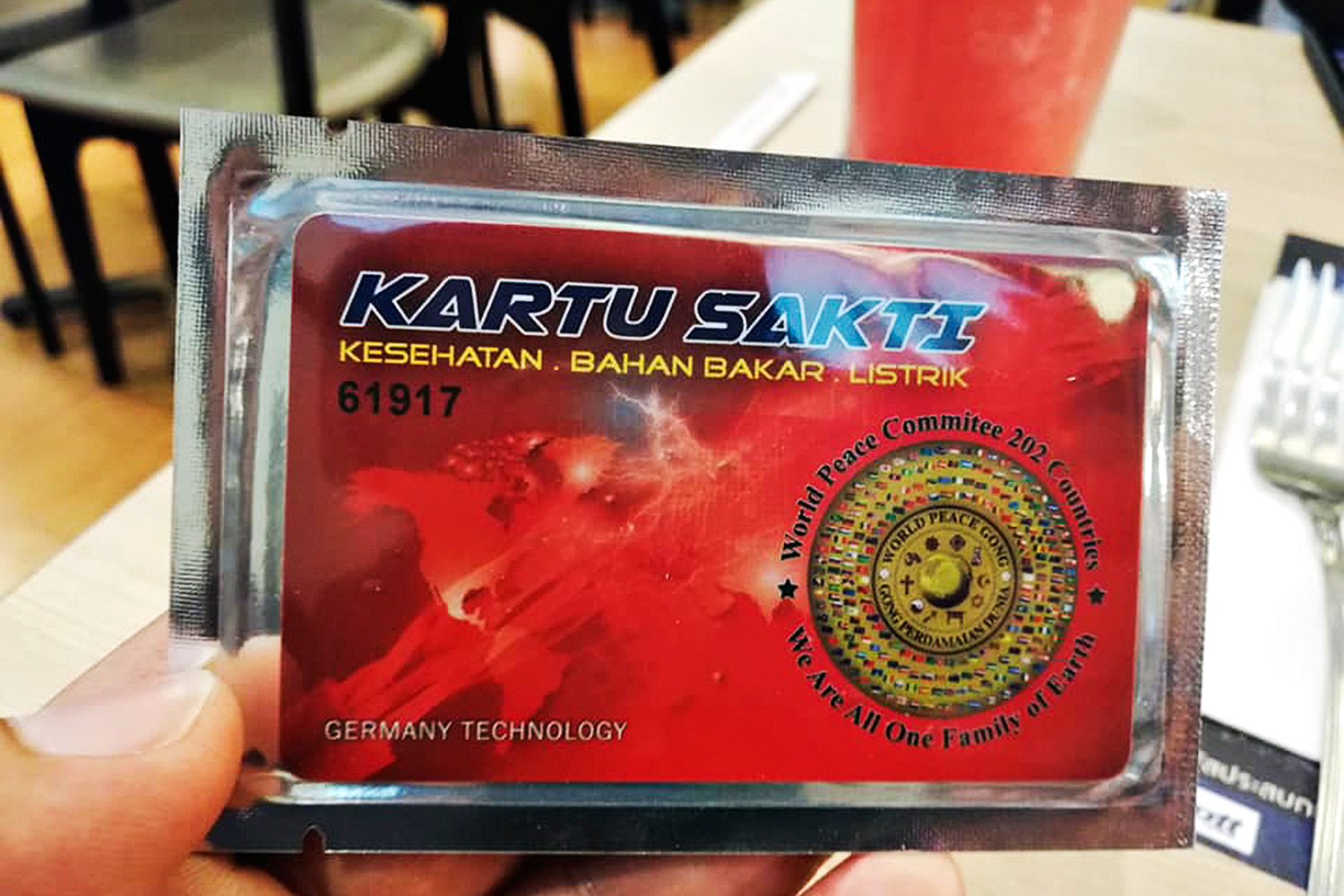 People are being warned about Indonesian 'cure-all' power cards.(Photo courtesy Weerachai Phutdhawong Facebook Account)