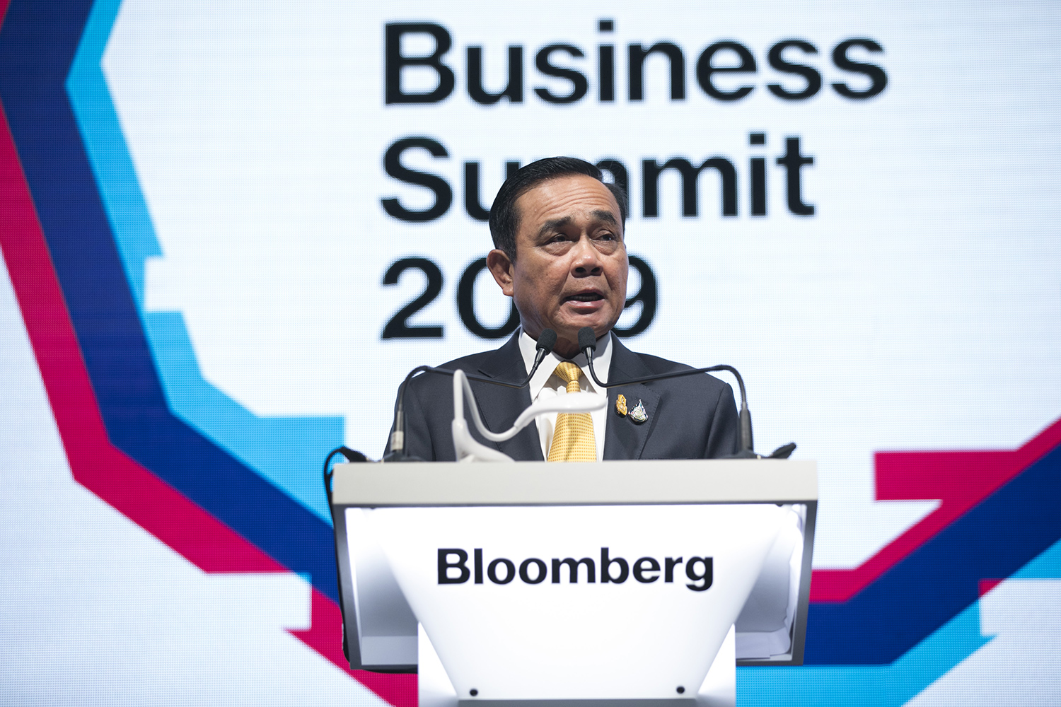 Prime Minister Prayut Chan-o-cha speaks during the Bloomberg Asean Business Summit in Bangkok on Friday. (Bloomberg photo)