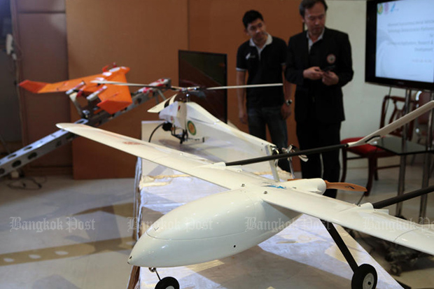 The Defence Technology Institute shows an unmanned aerial vehicle to be used to survey forest areas in the county. (Photo by Tawatchai Kemgumnerd)