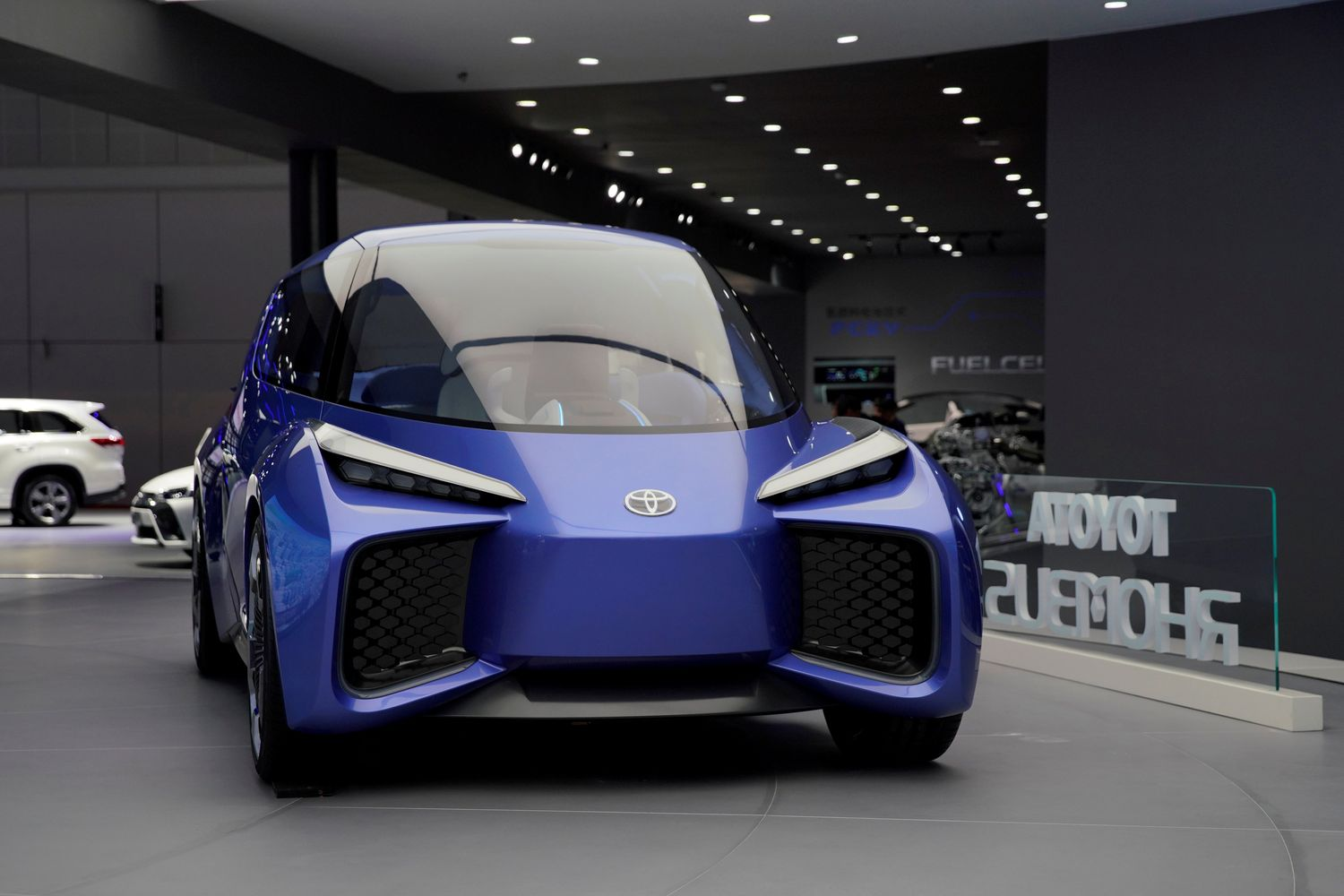 A Toyota's electric vehicle concept Rhombus is displayed during the media day for Shanghai auto show in Shanghai on April 17. (Reuters photo)