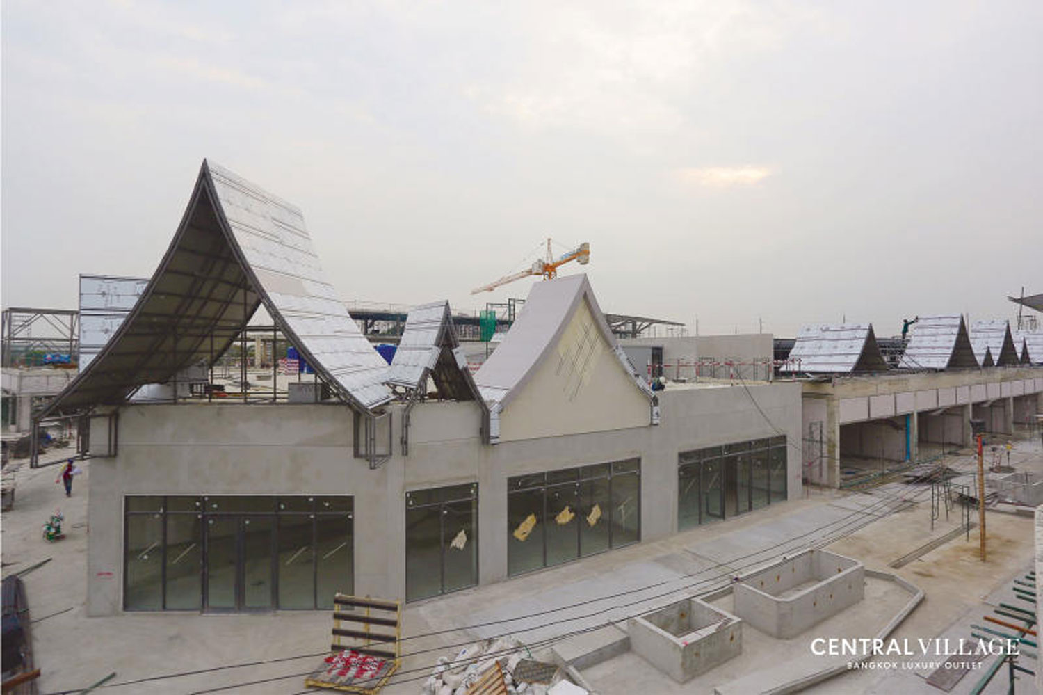 Central Village, which bills itself as Thailand's first international luxury shopping outlet, is nearing completion alongside Suvarnabhumi airport in Samut Prakan province. But the developer never received land-use approval. (Photo supplied)
