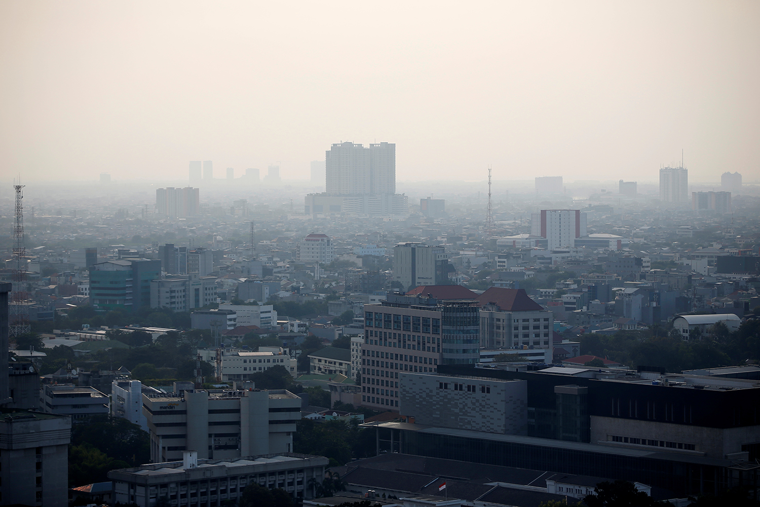 A general view of the capital city as smog covers it in Jakarta on Thursday. (Reuters photo)