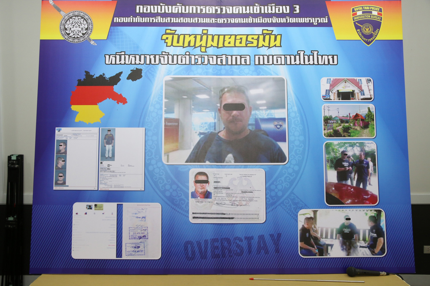A police chart shows a German fugitive, 43, caught in Phetchabun province for overstaying his visa. Police found he was also on Interpol's wanted list. He will be sent back to Germany to face the charges against him. (Immigration Bureau photo)